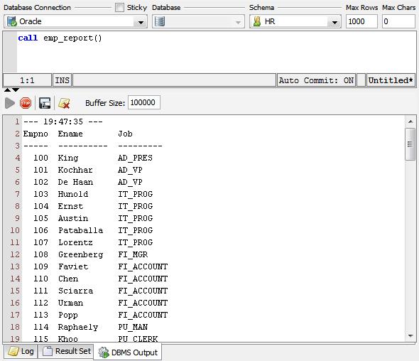 dbms logo. Figure: DBMS Output tab