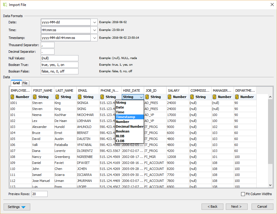 Import Dtabase Table Data - DbVisualizer