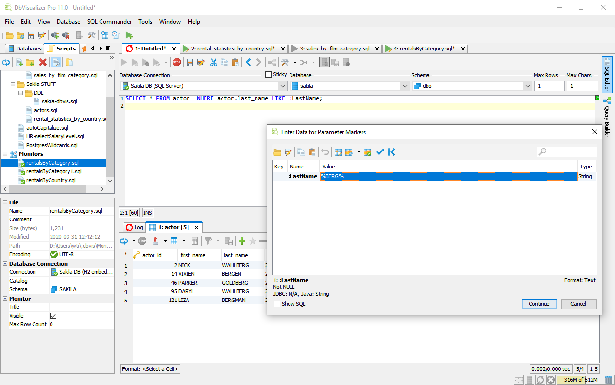 SQL Editor - DbVisualizer