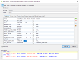 The alter table feature enables visual editing of the table structure. This screenshot also shows the SQL Preview area. This is the SQL that DbVisualizer will run when Execute is pressed.