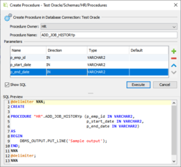 This screenshot shows the action used to create a stored procedure in an Oracle database.