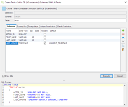 The Create Table feature is used to specify the definition of a database table in terms of columns, keys, indexes, foreign keys, constraints, etc. This screenshot show the Columns information with the instant SQL Previewer visible.