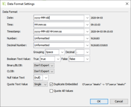 There are a number of options to control data formats and other details of the export result.